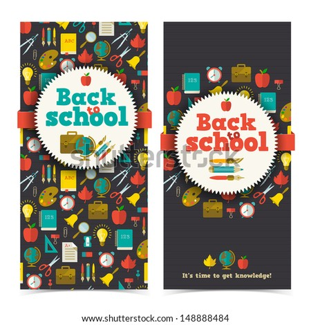 Back to school banners set. Vector Illustration, eps10, contains transparencies. - stock vector