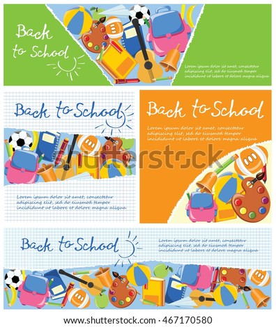 Back To School Banners. Vector Flat Illustration. Education Concept
