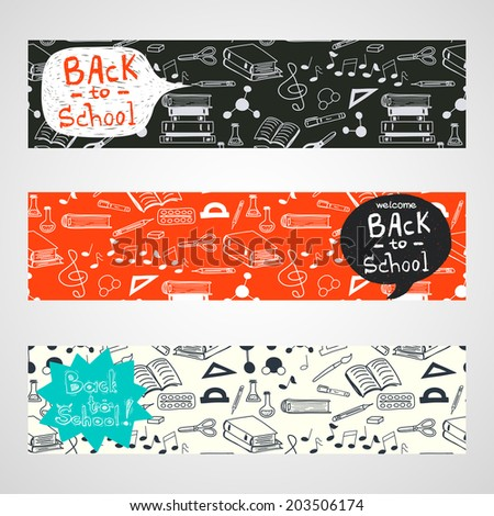 Back to School banners with hand drawn doodle notes, books, paint, pencil, molecules and text box for your message. - stock vector