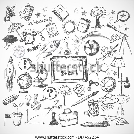 Back to school big doodles set. Hand drawn with ink. Vector illustration. - stock vector