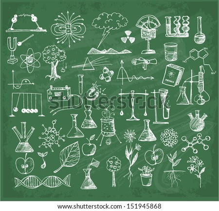 Back to school big doodles set on green chalkboard. Physics, Chemistry, Biology. Hand drawn with ink. Vector illustration.  - stock vector