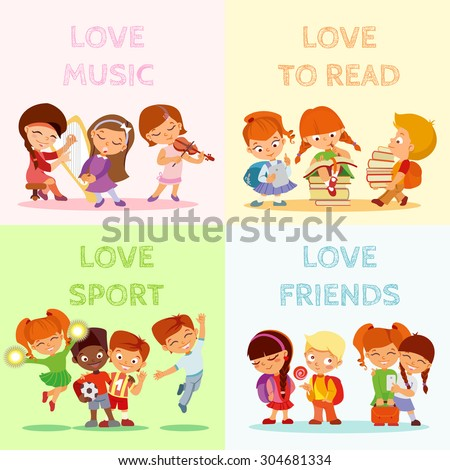 Back to school.Big set of cute cartoon children,pupils,boys and girls.Kids in various poses and actions:playing music,singing,jumping,smiling with friends,writing,reading. Vector icon set isolated - stock vector