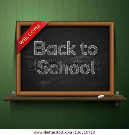 Back to school, blackboard on the shelf, vector illustration. - stock vector