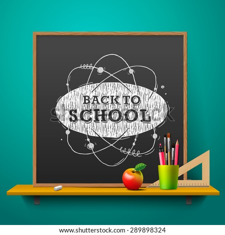 Back to school, blackboard on the wall, vector illustration. - stock vector