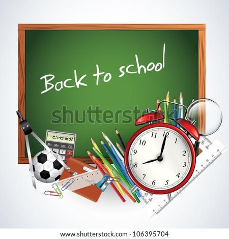 Back to school - blackboard with school supplies - stock vector