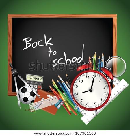 Back to school - blackboard with school supplies - stock vector