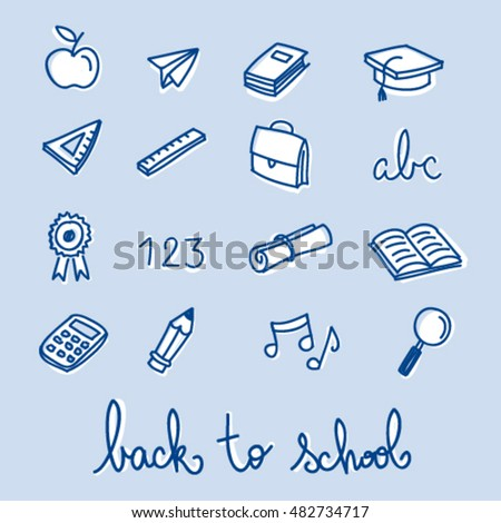 Back to school blue vector set of icons