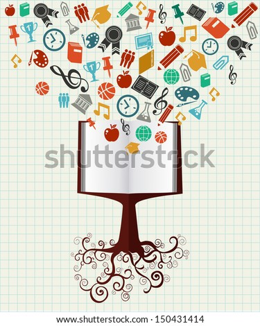 Back to School book tree education colorful icons. Vector layered for easy personalization. - stock vector