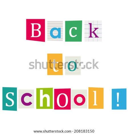 Back to school ! Books letters. Education background.  - stock vector