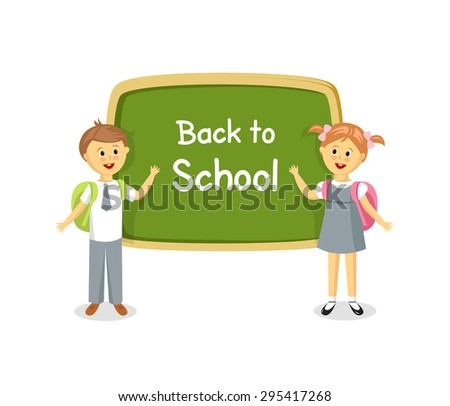 Back to school. Boy and girl standing near school board - stock vector