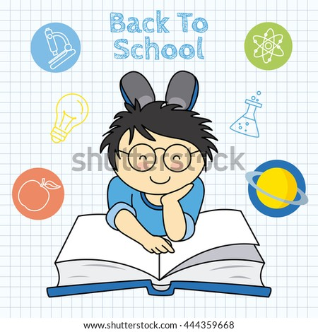 back to school. boy reading and education icons