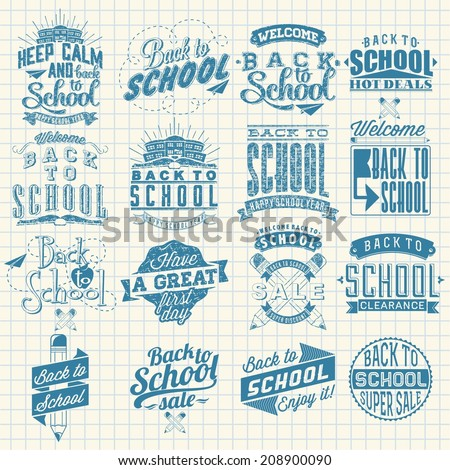 Back to School Calligraphic Designs Label Set | Retro Style Elements | Vintage Ornaments | Sale, Clearance | Vector Set - stock vector