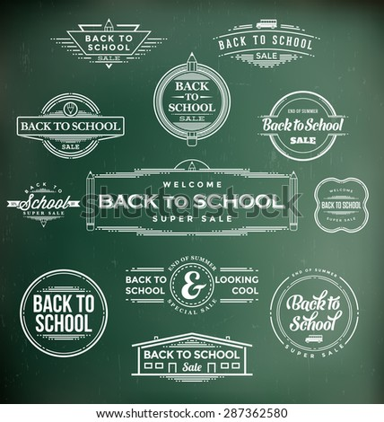 Back to School Calligraphic Designs - Retro Style Elements - Vintage Ornaments - Sale, Clearance Collection - Vector Set - stock vector