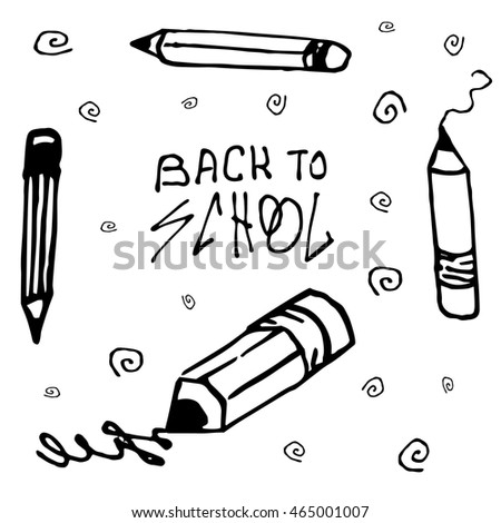 Back to School Calligraphic Designs. Vector doodle. Hand drawing.