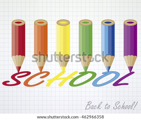 Back to school card with multicolored pencils, vector illustration
