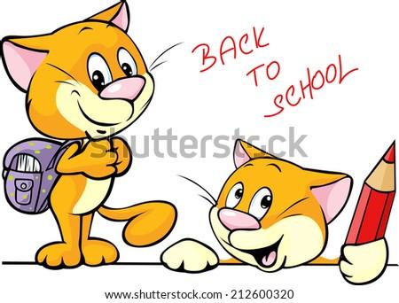 back to school - cat character with school supplies - stock vector