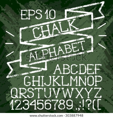 Back to school. Chalk alphabet with ribbon on green class-board. Grainy letters and numerals on grunge background - stock vector