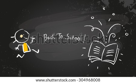 Back to school chalk on blackboard, girl with book. Vector doodle creative illustration, sketch.  - stock vector