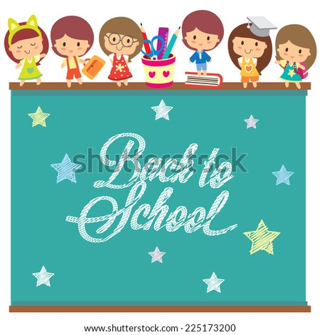 back to school chalkboard layout design - stock vector