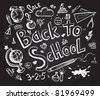 Back to school chalkboard sketch - stock photo