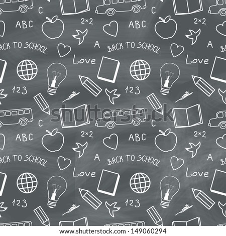 Back to school chalkboard with doodles. Vector seamless pattern - stock vector