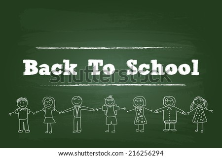 Back To School Children Sign On Green Board - stock vector
