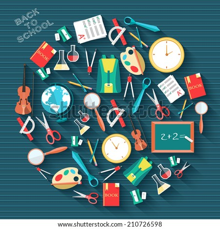 back to school circle flat icons concept. Vector illustration design - stock vector