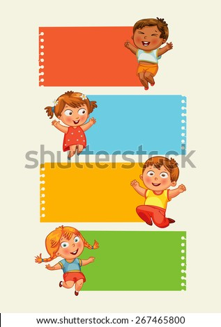 Back to school. Collection of infographics elements in the form of paper tape for various purposes. Funny cartoon character. Vector illustration. Set - stock vector