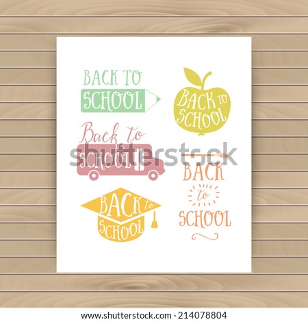 Back to school colorful doodle lettering signs: bus, apple, pencil. Back to school logo. Greeting card. School cartoon hand lettering - stock vector