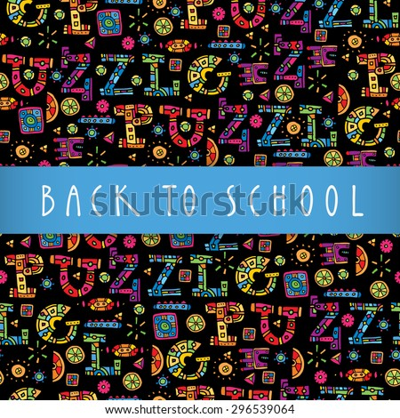 Back to school colorful greeting card design with a blue silky stripe as copy space,hand lettering and a multicolor artistic puzzle background. Vector seamless pattern - stock vector
