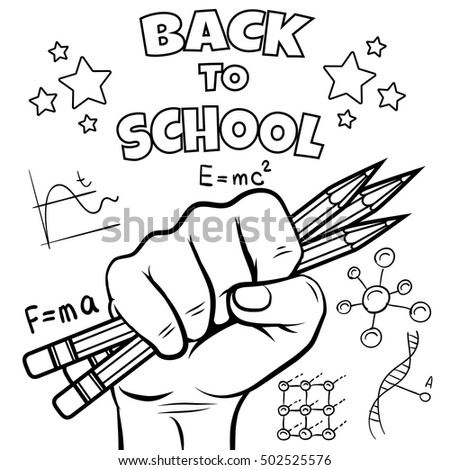 Back School Coloring Page Black Sketch Stock Vector HD (Royalty Free ...