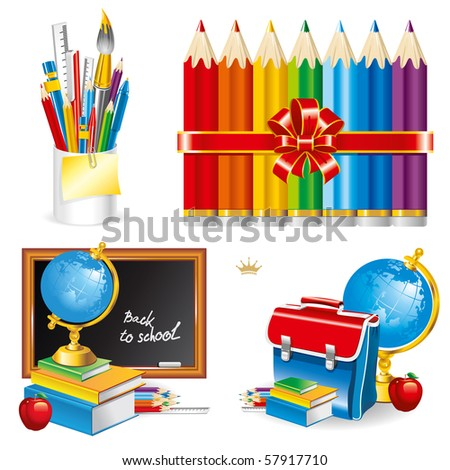 Back to school, composition of the student subjects (set vector illustration). - stock vector