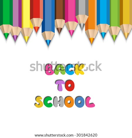 Back to school concept. Color pencils background. - stock vector