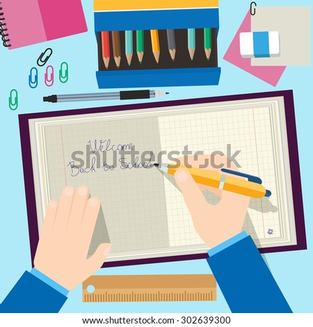 Back to school concept design. Background with pencils, book and school Items. Vector illustration in flat style. - stock vector