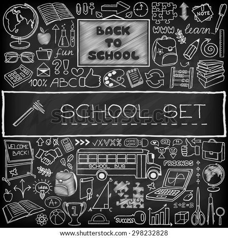 Back to School concept. Doodle graphic design elements. Hand drawn education icons set with blackboard, school bus and supplies, puzzle, thumb up and more. Black chalkboard effect. Vector Illustration - stock vector
