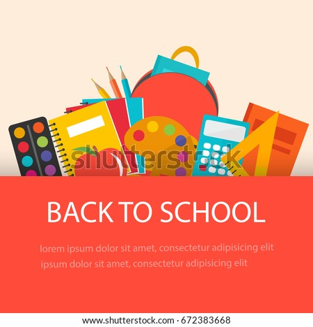 Back to school concept, flat design. School  supplies  background, vector illustration