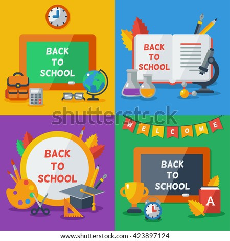 Back To School Concept Frames With Flat Icons. Vector Illustration. Arts and Science Objects. Education Concept. - stock vector