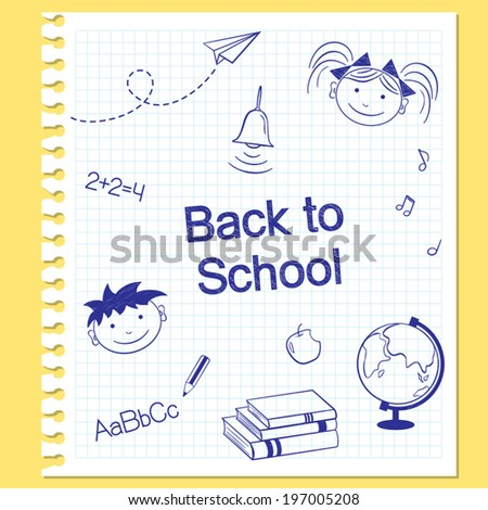 Back to school concept. Hand drawn school items on squared notebook paper