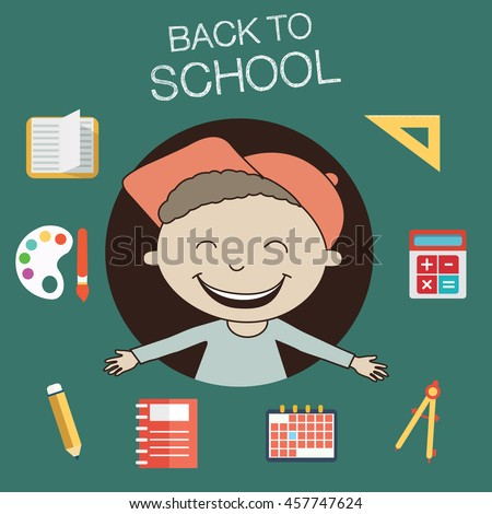 Back to school concept, kid with school items - stock vector
