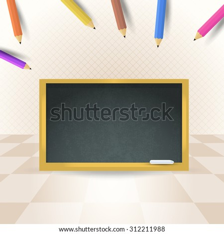 Back to School Concept Pencils, Black Board Vector Background - stock vector