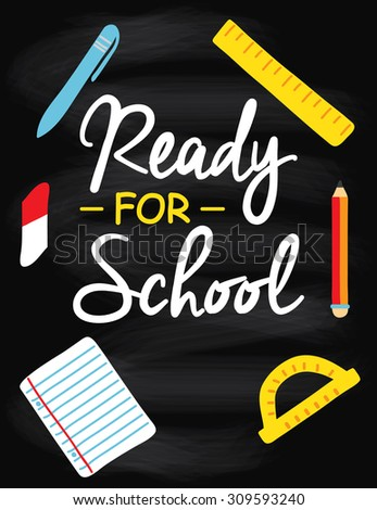 Back to school concept. School supply background. - stock vector