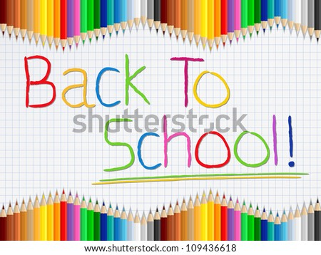Back to school concept with colored pencil on the paper, vector eps10 illustration - stock vector
