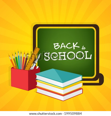 Back to School concept with stylish text on green background, notebooks and stationery on yellow rays background.  - stock vector