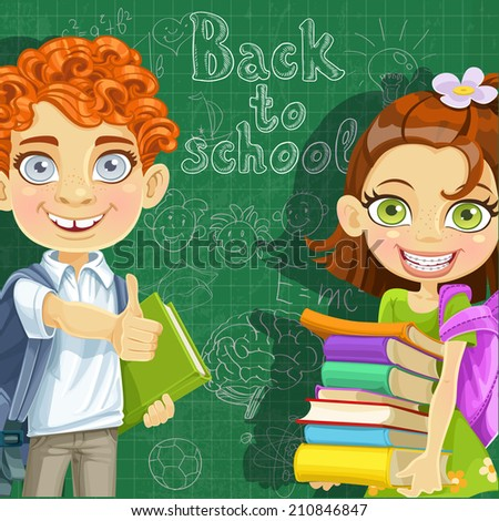 Back to school - curly-haired boy and cute girl  with books at the blackboard