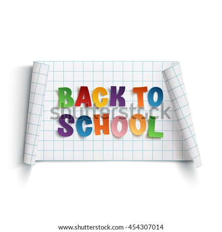 Back to school curved paper banner, isolated on white background. Vector illustration.