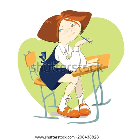 Back to school. Cute girl at the Desk. The vector drawing by hand - stock vector