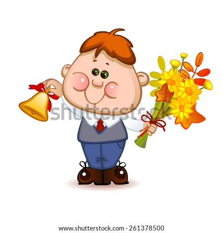 Back to school. Cute schoolchild with school bell. Vector illustration  - stock vector