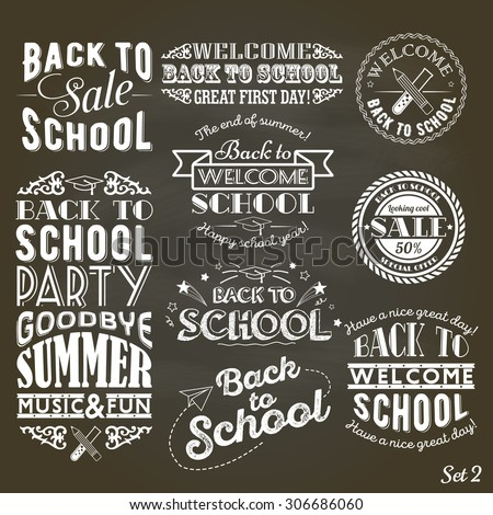 Back to School Design Collection. A typographic set of vintage style Back to School sale and party on Black Chalkboard Background