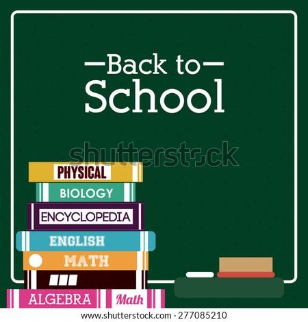 Back to school design over green background, vector illustration - stock vector