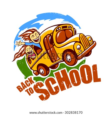 Back to school design template. Funny school bus with children rides to school. Vector art.  - stock vector